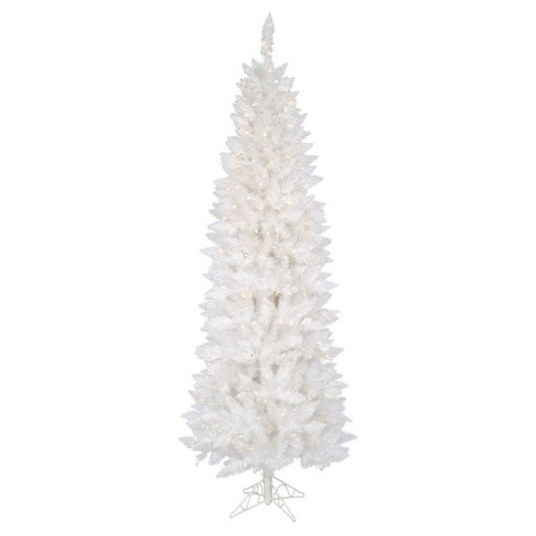 6 ft Sparkle White Pencil Artificial Christmas Tree with Clear Lights - image 1 of 1