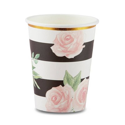 24ct Floral Striped Paper Cups