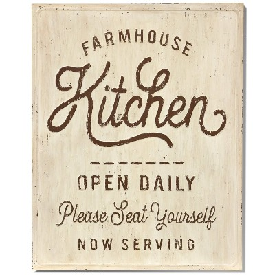 Metal The Kitchen Wall Panel with Raised Beveled Lettering - StyleCraft