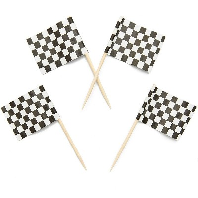 Juvale 200-Pack Racing Car Checkered Flag Cupcake Decoration Cake Toppers Food Picks 1 x 1.3 in