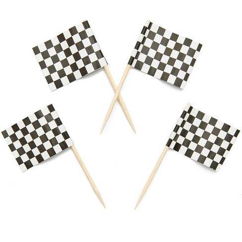 Juvale 200-Pack Racing Car Checkered Flag Cupcake Decoration Cake Toppers Food Picks 1 x 1.3 in - image 1 of 4