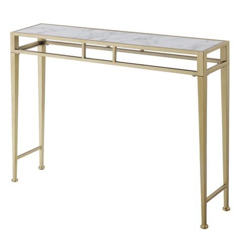 Gold Coast Julia Hall Console Table Faux Marble White Johar Furniture