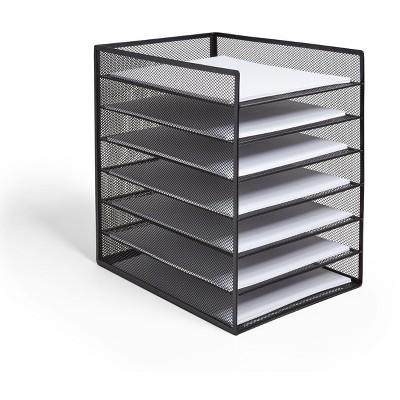 TRU RED 6 Compartment Wire Mesh File Organizer, Matte Black TR57565-CC