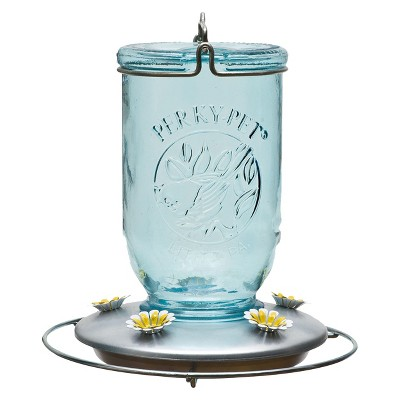 8  32oz Glass Blue Mason Jar Hummingbird Feeder - Blue - Perky-Pet