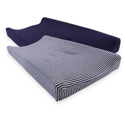 Touched by Nature Unisex Baby Organic Cotton Changing Pad Cover - Navy Heather Gray One Size