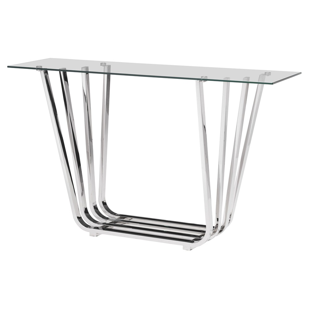 Elegant Tempered Glass and Chrome Stainless Steel 55 Rectangular Console Table - Clear - ZM Home
