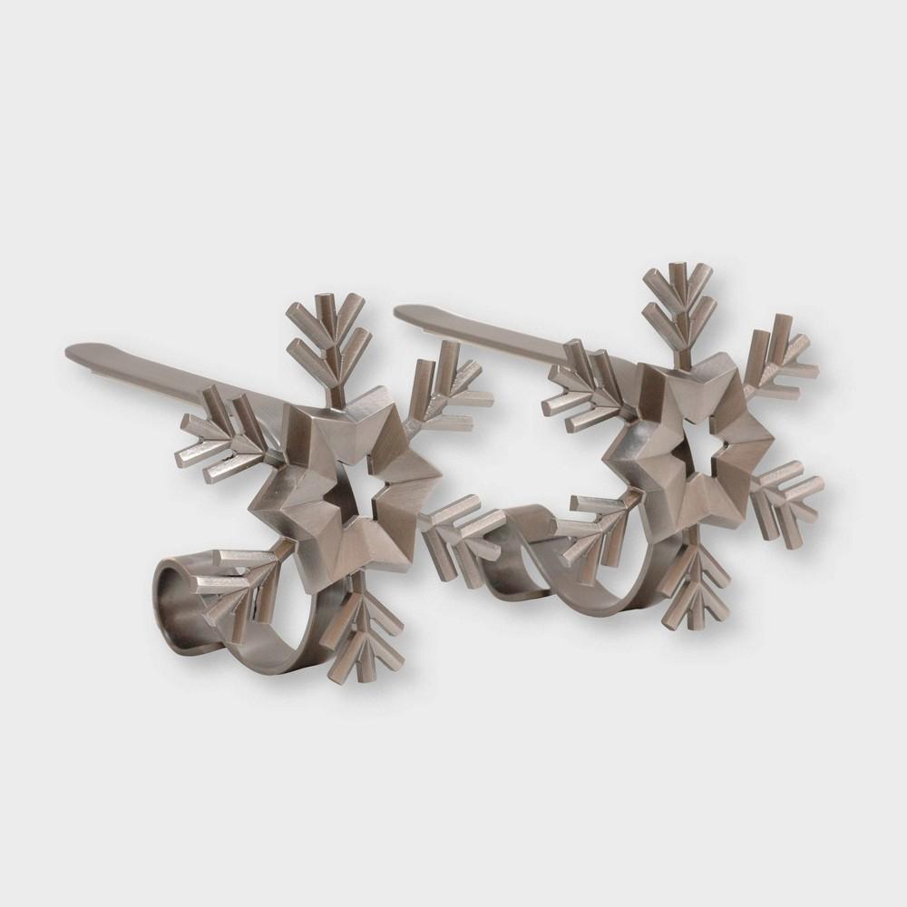 Image of Original MantleClip 2ct Snowflake Pewter Christmas Stocking Holder