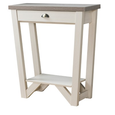 Risa Contemporary 1 Drawer Console Table Ivory /Light Oak - HOMES: Inside + Out