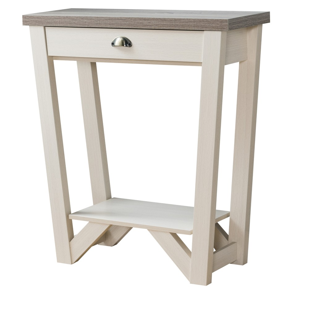 Iohomes Risa Contemporary 1 - Drawer Console Table Ivory - Homes: Inside + Out, Brown