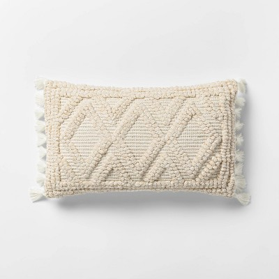 Lumbar Woven Textured Diamond Throw Pillow Cream - Opalhouse™