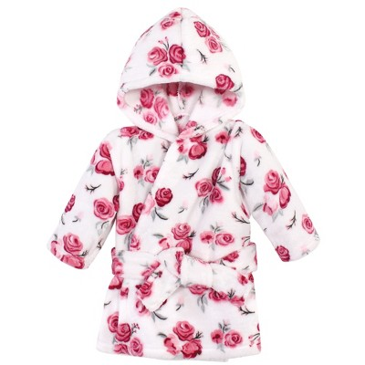 Hudson Baby Infant Girl Plush Pool and Beach Robe Cover-ups, Rose