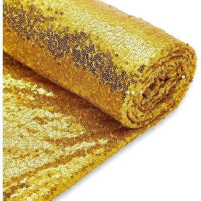 Bright Creations Gold Sequin Fabric Roll for Sewing, Quilting (60 in x 15 Feet)