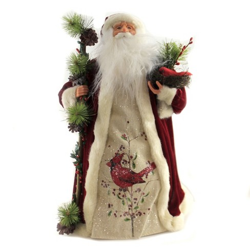 "Tree Topper Finial 18.0"" Santa Wtih Cardnial Tree Topper Birds Nest Staff  -  Tree Toppers - image 1 of 3"