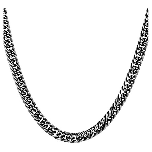 "Men's Crucible Stainless Steel Antiqued Cuban Chain Necklace (9mm) - Silver (23"") - image 1 of 3"