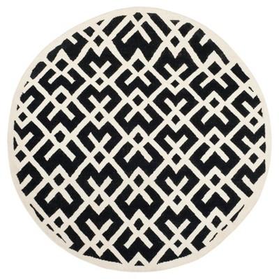 Tangier Dhurry Area Rug - Black/Ivory (6' Round)- Safavieh®