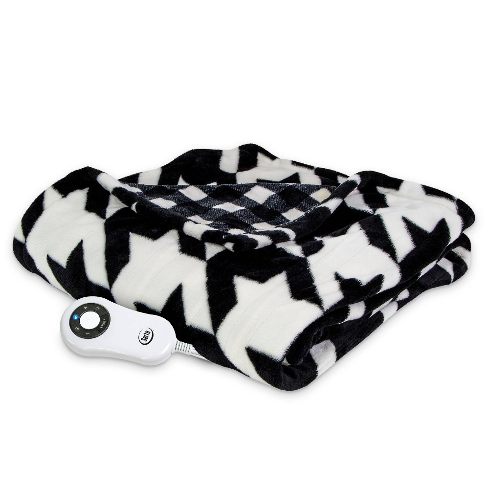 "Image of ""50"""" x 60"""" Silky Plush Electric Throw Blanket Black/White Houndstooth - Serta"""