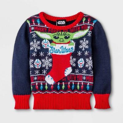 Baby Star Wars Baby Yoda Ugly Christmas Sweater - Navy