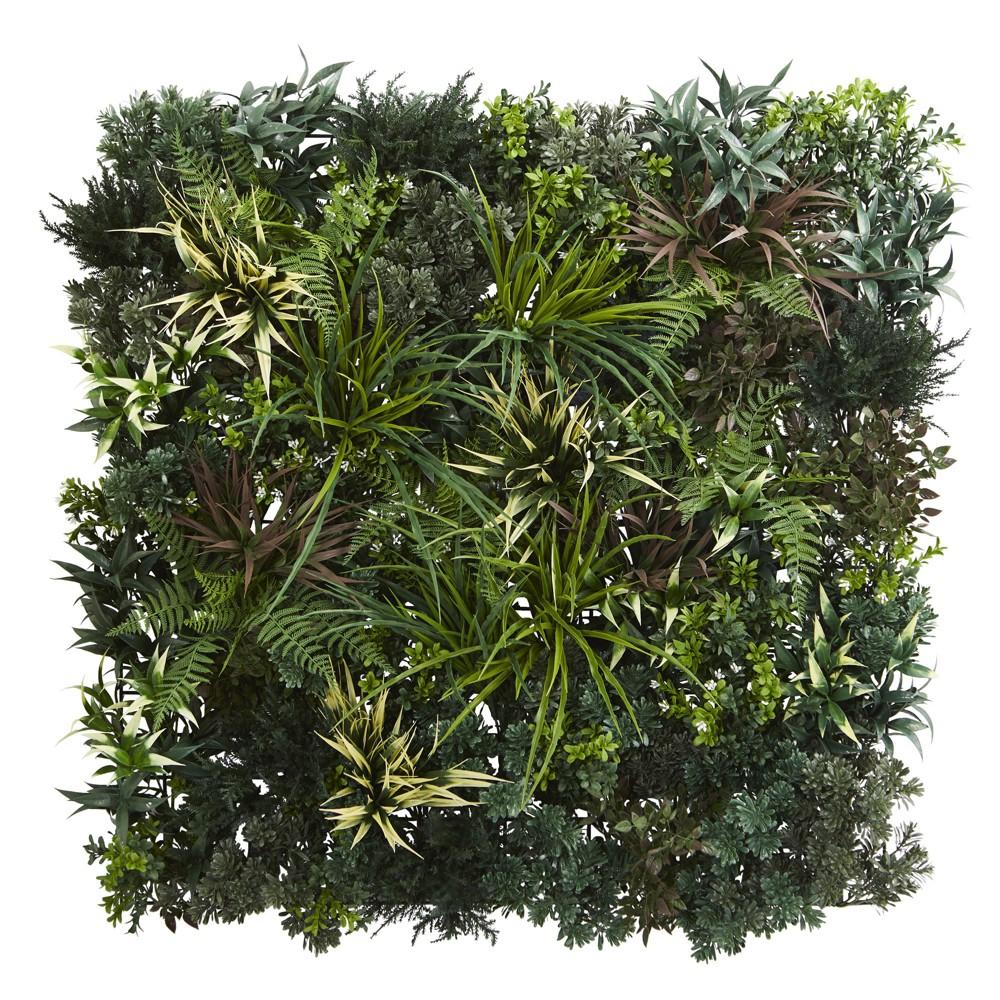 Image of 3ft X 3ft Greens & Fern Artificial Living Wall - Nearly Natural