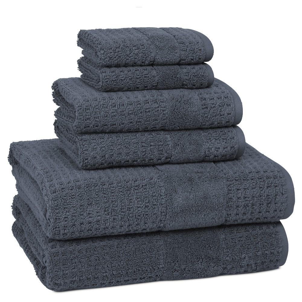 Image of 6pc Checkered Bath Towel Set Stonewash Blue - Cassadecor, Stonewashed Blue