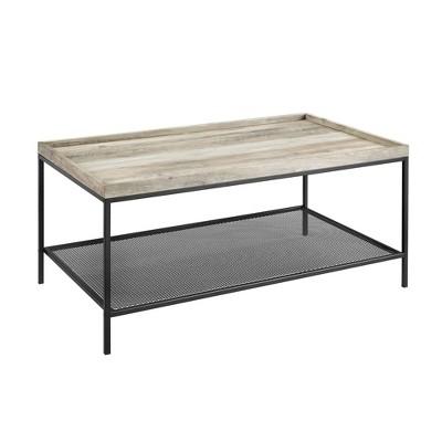 Industrial Tray Top Coffee Table with Metal Mesh Shelf Gray Wash - Saracina Home