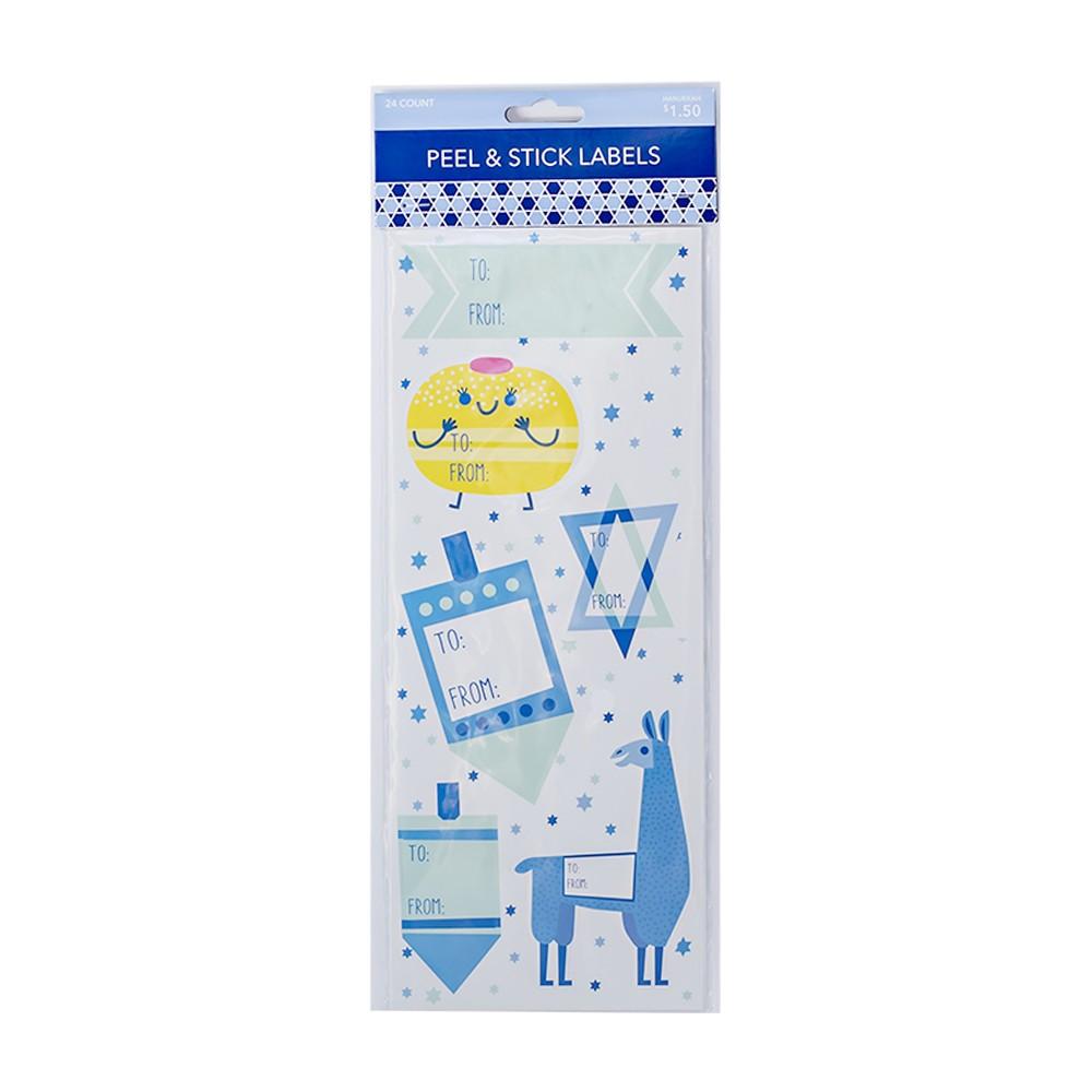 24ct Hanukkah Premium Peel & Stick Gift Tag Stickers, Blue