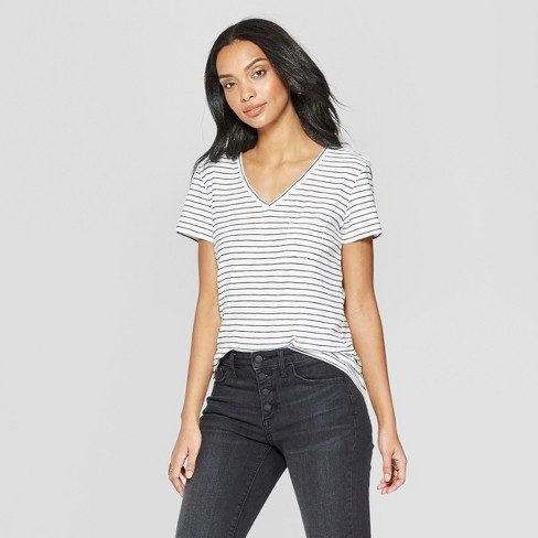 be8a49710c Women s Striped Short Sleeve V-Neck Monterey Pocket T-Shirt - Universal  Thread™ Gray