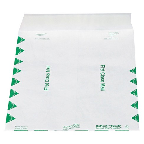 Survivor Tyvek 9-1/2 x 12-1/2 USPS First Class Mailer with Side Seam - White (100 Per Box) - image 1 of 2