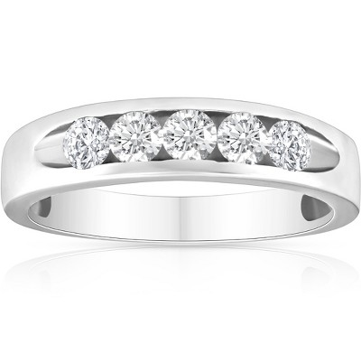Pompeii3 1/2ct Diamond Mens Wedding Ring Channel Set High Polished Band 14K White Gold