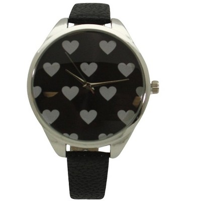 Olivia Pratt Heart Print Face Leather Strap Watch