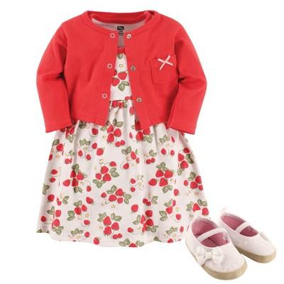 Hudson Baby Infant Girl Cotton Dress, Cardigan and Shoe 3pc Set, Strawberry