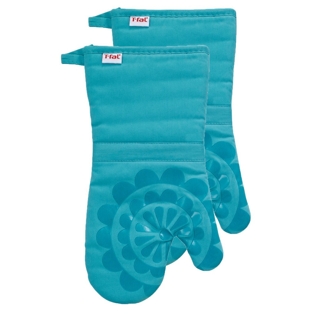 """Image of """"Teal Medallion Silicone Oven Mitt 2 Pack (13""""""""x13"""""""") T-Fal"""""""