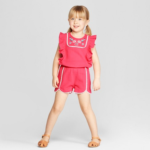 Genuine Kids® from OshKosh Toddler Girls' Ruffle Sleeve Romper Bodysuit - Coral - image 1 of 3