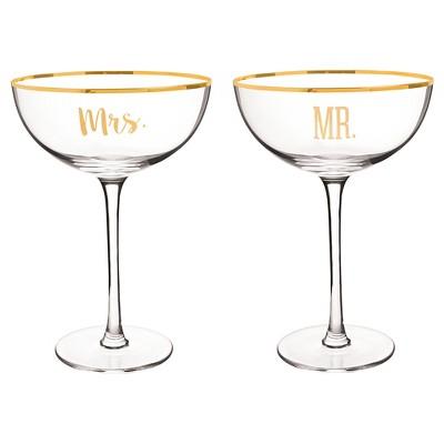 2ct  Mr. & Mrs.  Gold Rim Coupe Flutes