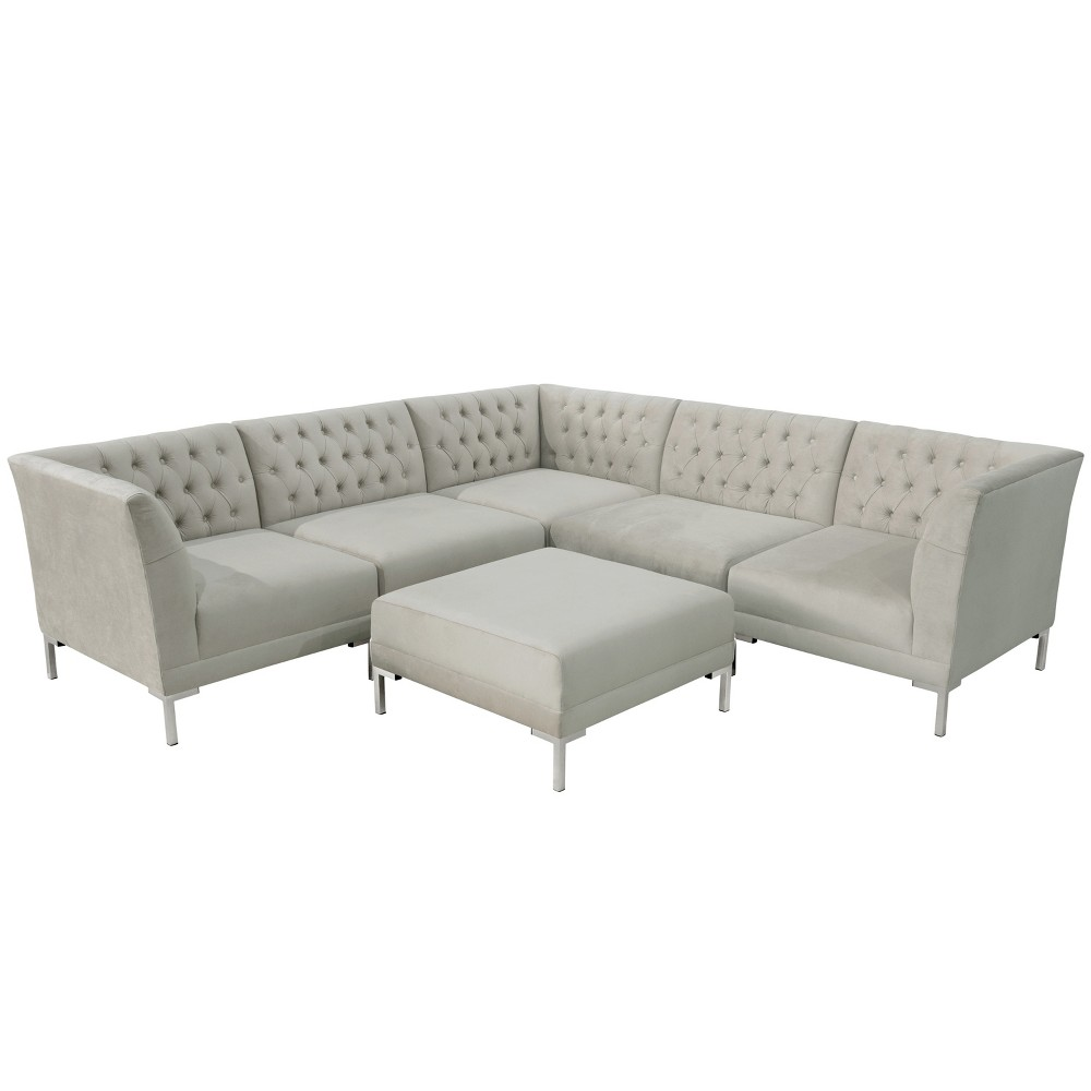 6pc Audrey Diamond Tufted Sectional Light Gray Velvet and Silver Metal Y Legs - Cloth & Co.