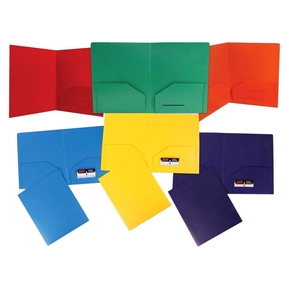 Image of 6pk 2 Pocket Heavy Duty Plastic Folder Multicolor Primary - JAM Paper