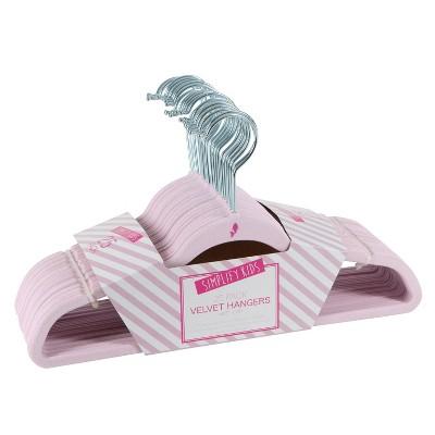 Simplify Kids' 25pk Velvet Hangers Blush