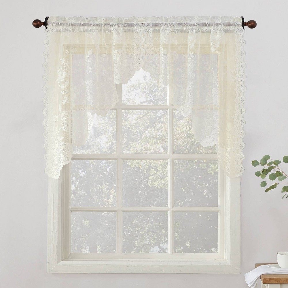 """Image of """"Alison Floral Sheer Lace Kitchen Curtain Tier Pair Ivory (58""""""""x24"""""""") - No. 918"""""""