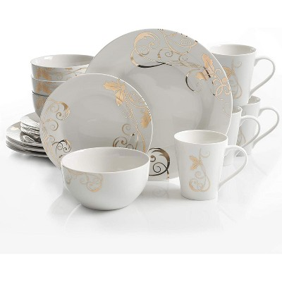 Gibson 99812.16R Elegant White Porcelain 16 Piece Dinnerware Set Plates, Bowls, and Mugs, Seasonal White and Gold