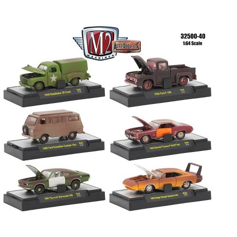 Auto Projects 6 Piece Set Release 40 IN DISPLAY CASES 1/64 Diecast Model  Cars by M2 Machines