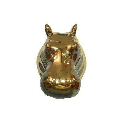3.8 x2.5  Polyresin Hippopotamus Decorative Wall Sculpture Gold