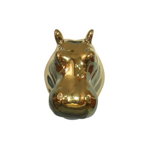 "3.8""x2.5"" Polyresin Hippopotamus Decorative Wall Sculpture Gold - image 1 of 1"