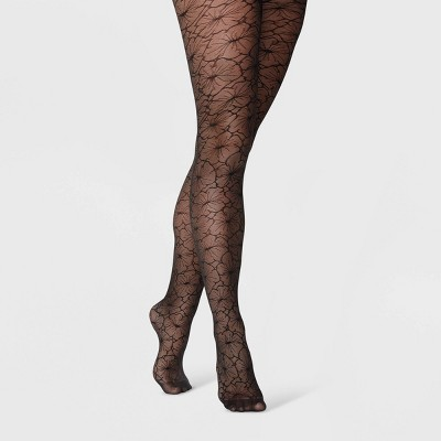 Women's Floral Tights - A New Day™ Black