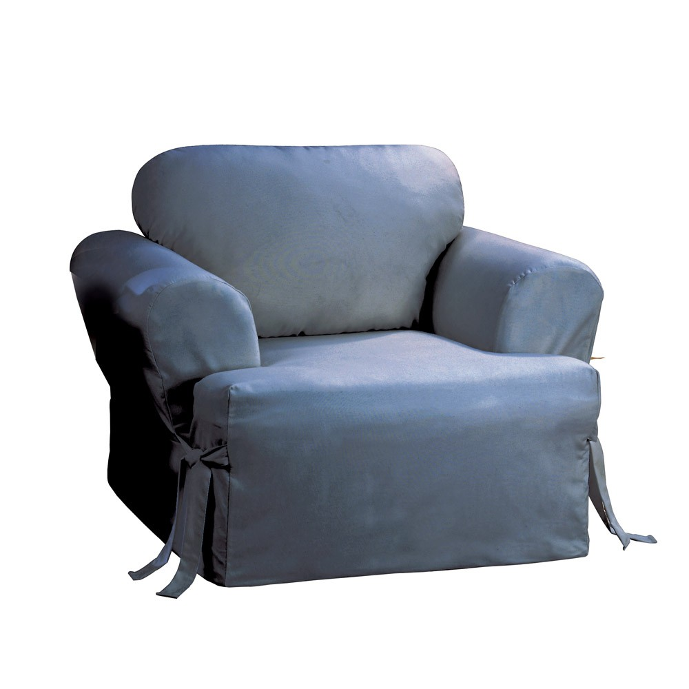 Cotton Duck Tcushion Chair Slipcover Blue Stone - Sure Fit