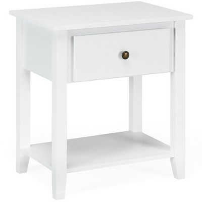 Costway Nightstand Beside Table Chest Sofa Table End Table Accent Table White