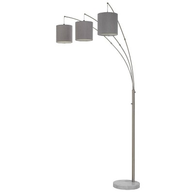 """89"""" Metal Lyndon Arc Floor Lamp with Drum Shade and Marble Base Gray - Cal Lighting"""