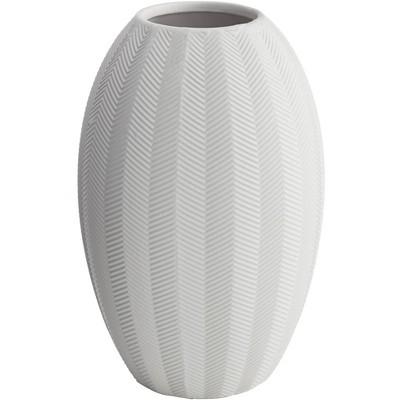 "Dahlia Studios Zig Zag 10 3/4"" High Matte White Porcelain Decorative Vase"