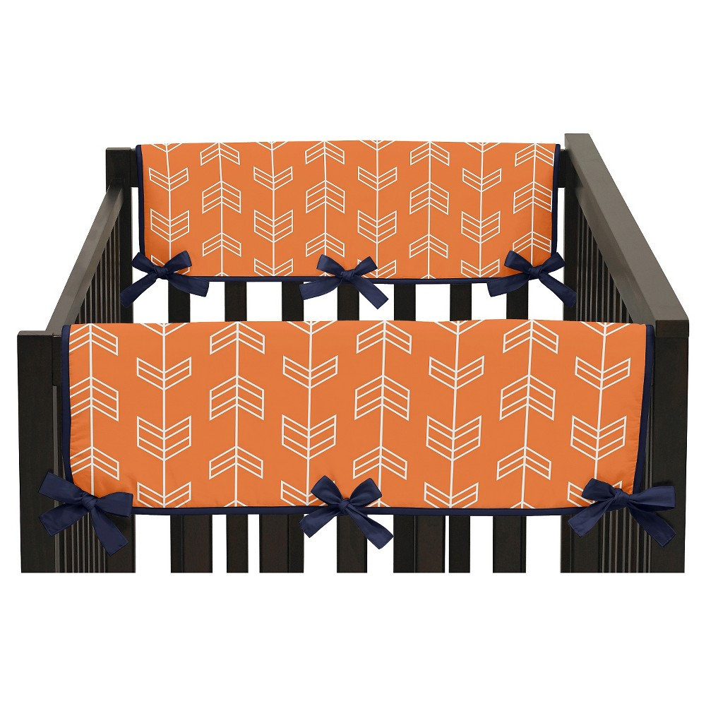 Sweet Jojo Designs Orange & Navy Arrow Side Crib Rail Guard Covers (Set of 2) - Orange