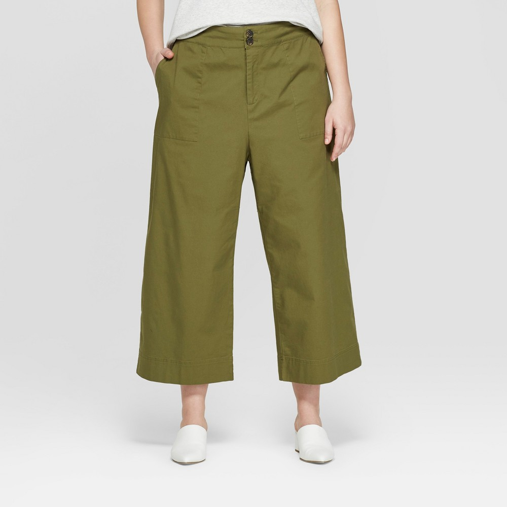 Women's Plus Size Wide Leg Crop Trouser - Ava & Viv Olive (Green) 20W