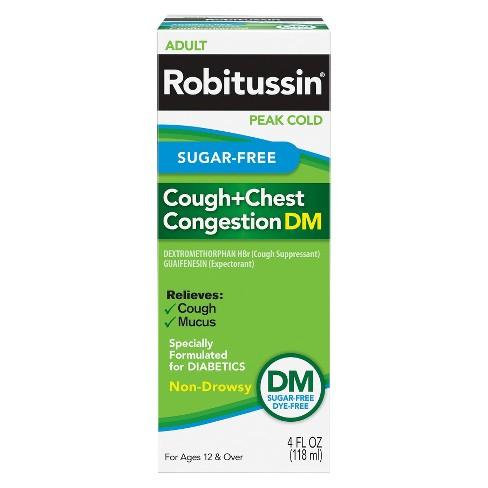 robitussin sugar free cough chest congestion dm liquid 4 fl oz