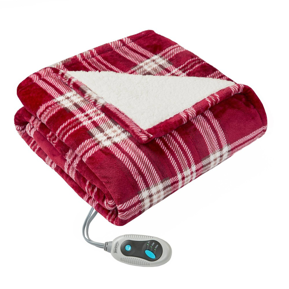 "Image of ""50"""" x 64"""" Plaid Sherpa Electric Throw Wrap Red"""